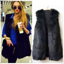 Ladies Faux Fur Sleeveless Vest Waistcoat Gilet Wrap Shrug Jacket Coat Outwear D