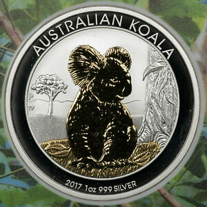 2017 AUSTRALIAN KOALA $1 PARTIAL GOLD PLATED EDITION AMAZING PROOF SILVER 7/1000