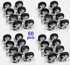 "50 pack swivel caster wheels 3"" rubber base with top plate & bearing heavy duty"