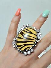 Jumbo Oversize Cocktail Oval Statement Prom Ring Chunky Stretch Zebra Crystal