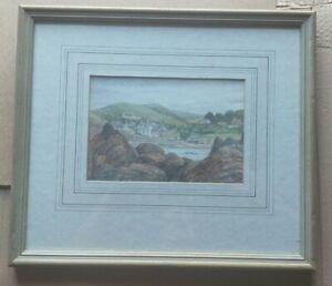 "Original framed glazed Watercolour painting Hope Cove Devon 15""x13""  artwork"