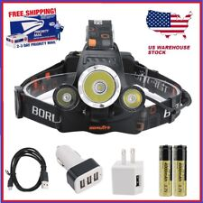 BORUiT 15000lm Headlamp CREE 3x XM-L T6 LED Headlight 18650 Battery Charger Car