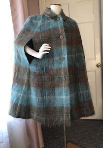 Vintage Mohair Wool Scotland Tartan Plaid Cape Poncho Stroller Swing Coat OS