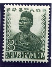 PAPUA NEW GUINEA;  1952 early definitive issue fine Mint hinged 3d. value