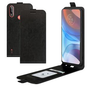 For Motorola MOTO E7 Power Magnetic Vertical UP down Flip Leather phone Case