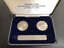 1970 Australia Captain Cook 50 Cent Proof VIP Presentation 2 Coin Set Very Rare!