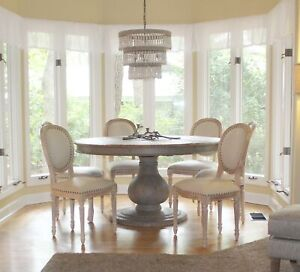 Six Dining Room Aged White Wash Chairs with Fabric Seat Wholesale Kitchen