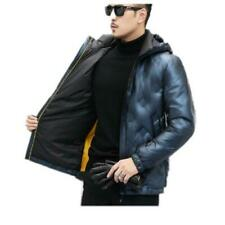 Winter Men's Puffer Jacket Hooded Quilted Duck Down Coat Outwear Warm Glossy L