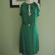 DIANE VON FURSTENBERG Green Silk Ruffle Sleeves Cocktail Dress Size 8
