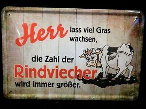 Blechschild Spruch Herr lass viel Gras wachsen...  Rindviecher  lustig  20 x  30