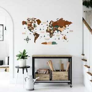 """World Wooden Wall Map in Dark Brown and Green XL size 78"""" x 39"""""""