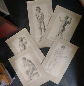 A set of 5 superb vintage art nude female drawings