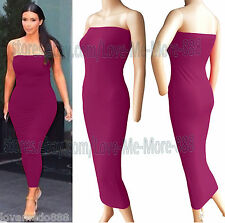 Summer Tube Strapless Party Club Tight fitted slimming Long Maxi Dress Y29# XL