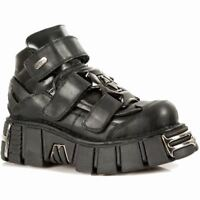 New Rock M.285-S1 Newrock Metallic Black Leather Gothic/Punk Unisex Shoes Boots