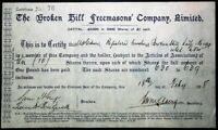 Scrip Australia 1898 - The Broken Hill Freemasons' Company, Ltd. 10 shares
