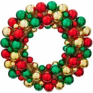 "20"" RED GREEN GOLD BALL Ornament CHRISTMAS WREATH FRONT DOOR RAZ W3932741 NEW"