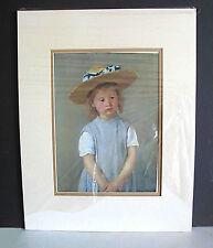 "1886 Child in Straw Hat Mary Cassatt Painting Matte and Print 14x18"" FREE SH"
