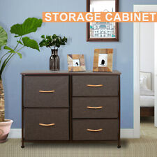 Chest Fabric Storage 5 Drawers Dresser Bedroom Cabinet Furniture Toys Organizer