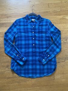 J Crew women's flannel plaid shirt size small blue and teal