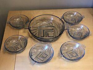 Vintage 7 Piece Art Deco Stolle Niemen Blue Glass Trifle Bowl And 6 Bowls Set