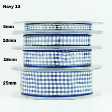 Gingham Ribbon 18 Colours 5 Widths 3 Lengths by Berisfords Navy #13 15mm X 1mtr