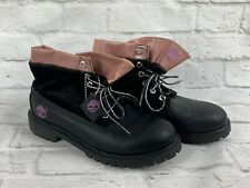 TIMBERLAND Fold-Down Women's Boots Black Leather & Velour Pink Trim Size 7 M