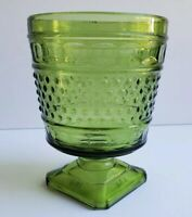 Napco #1180 Green Hobnail Thumprint Glass Footed Vase Planter Ohio USA Vintage