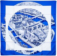 "HERMES Silk Scarf ""Regarde Paris"" by Barret 2006 Box 90cm Blue/White"