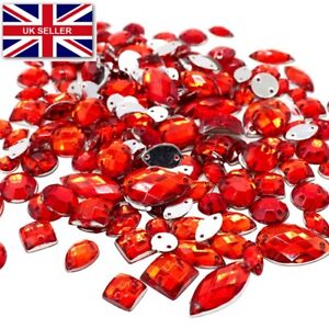 150x Mixed Shape Red Sew on Diamante Crystal Gems Rhinestone 5-15mm UK sell #17