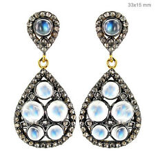 925 Sterling Silver Moonstone Dangle Drop Earrings Gemstone Pave Diamond Jewelry