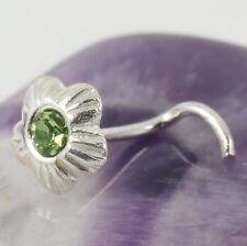 Curved Nose Stud Screw Solid 925 Sterling Silver Peridot Crystal 0.8mm 20g New