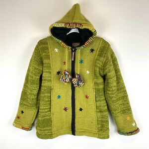 Kyber Outerwear 100% Wool Full Zip Sweater Jacket Size Small S Green