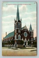 Saginaw MI, St. Mary's Catholic Church, Bell Tower, Vintage Michigan Postcard