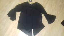 BNWT SIZE 4 BLACK CHIFFON ROUND NECK TOP TRUMPET SLEEVES
