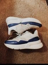 used Men's Alexander McQueen White/Blue Oversized Runner Sneakers in US 8