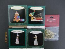 Hallmark Keepsake Ornaments Lot 4 Miniature Pooh,Woodstock,Alice N Wonderland