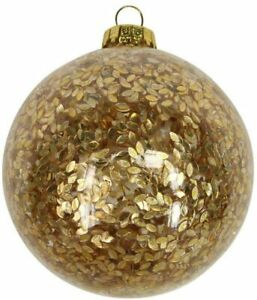 Luxury Glass Christmas Tree Bauble with Gold Confetti Tree Decor - 5 pack
