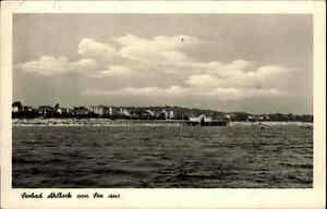 Ahlbeck alte Postkarte ~1954 DDR See Gewässer Seebad Panorama Stadt Häuser Ufer