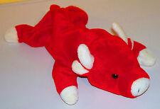 "TY Red SNORT the BULL 1998 BEANIE BUDDIES~14""~ Bean Bag Plush Animal"