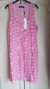 Genuine Calvin Klein Floral Summer Sleeveless Dress Beach Cover Up Sundress Pink