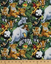 Cotton Baby Safari Jungle Animals Elephant Tiger Cub Koala Fabric BTY D475.26