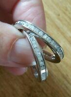 Fabulous Modernist Sterling Silver Oval  Earrings set with Princess Cut Gems.