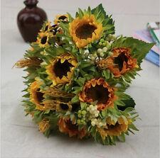 Fake Artificial Silk Sunflower Wheat Flowers Bridal Wedding Bouquet Home Decor