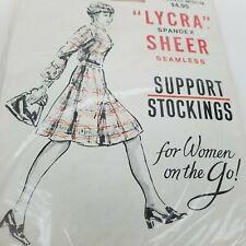 Vintage Lycra Spandex Sheer Seamless Support Stockings Lt Beige Medium