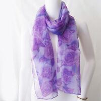 "Vintage Purple Floral Design Scarf 66x12"" Rectangle"