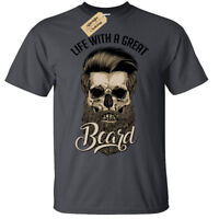 Life With A Great Beard T-Shirt Mens skull hipster barber beards