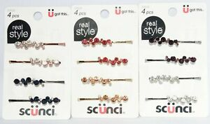 Scunci Real Style Bobby/Slide Hair Pins Rhinestone/Stone Glam 12 Count