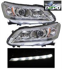 2013-2014 Honda Accord Sedan 4D OE Style Chrome Head Light DEPO LED DRL PAIR