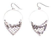 & round Hoop Hook Earrings(Zx203) Sparkling & Gorgeous- Chrome Circle Sheet