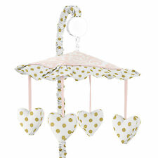 Musical Mobile For Sweet Jojo Pink White Damask Gold Dot Amelia Crib Bedding Set